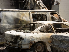 Destroyed cars at the BP Gas Station