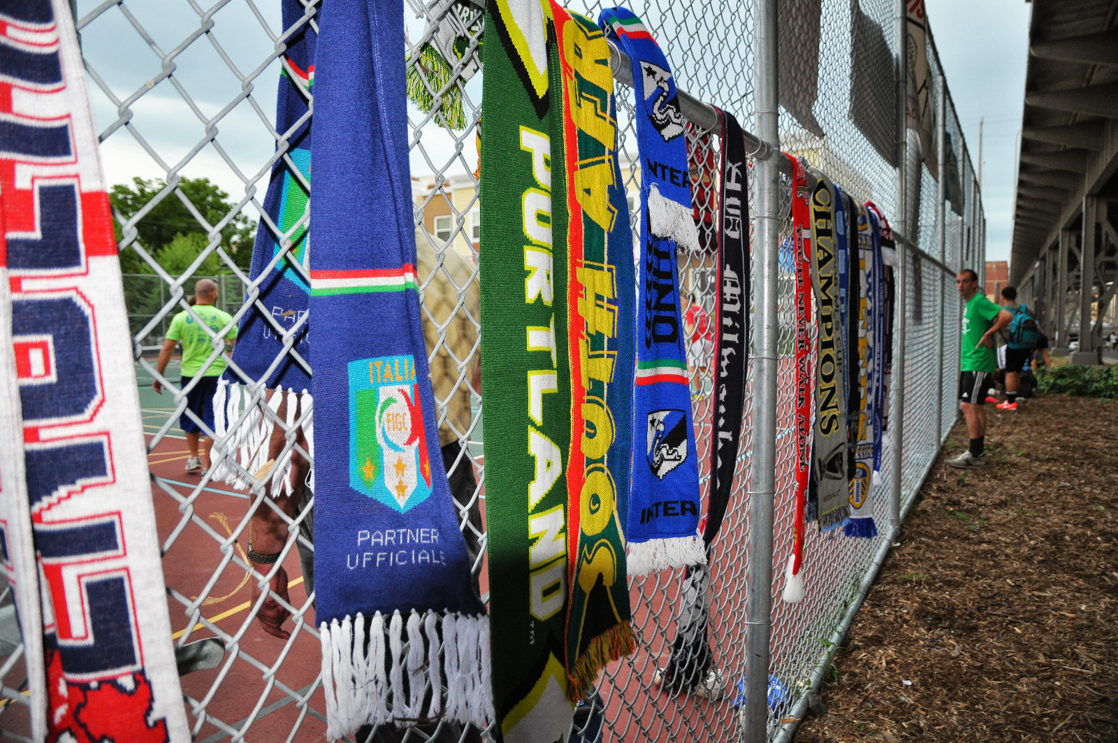 International scarves represented at SOCCERFEST, a 3-on-3 soccer tournament held at the Silver City Townhomes Sports Court by the Milwaueke Soccer Development Group.
