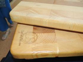 Closeup of the cutting boards.