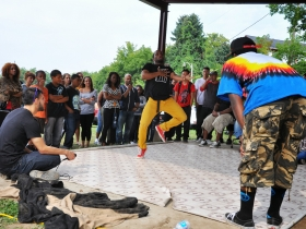 Breakdancing Tournament at the Arlington Heights Park Bandshell.