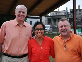 L-R: Milwaukee Mayor Tom Barrett; Jezamil Vega-Skeels, Layton Boulevard West Neighbors; State Representative Josh Zepnick.