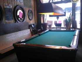 Pool table at Mamie's Bar and Grill. Photo by Mrinal Gokhale.