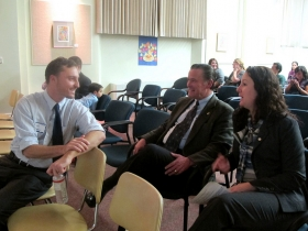 Dan Adams, neighborhood plan coordinator for LBWN, chats with Alderman Robert G. Donovan and Marina Dimitrijevic, chairwoman of the Milwaukee County Board of Supervisors.