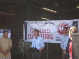 Milwaukee County Executive Chris Abele speaks at the opening of the Pedal Milwaukee Building.