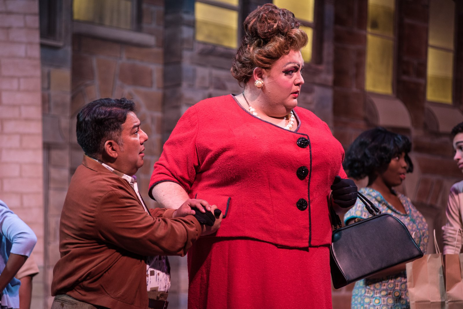 (l. to r.) David Flores (Wilbur Turnblad) and Tommy Novak (Edna Turnblad) in rehearsal for Skylight Music Theatre's production of Hairspray November 16 – December 30.