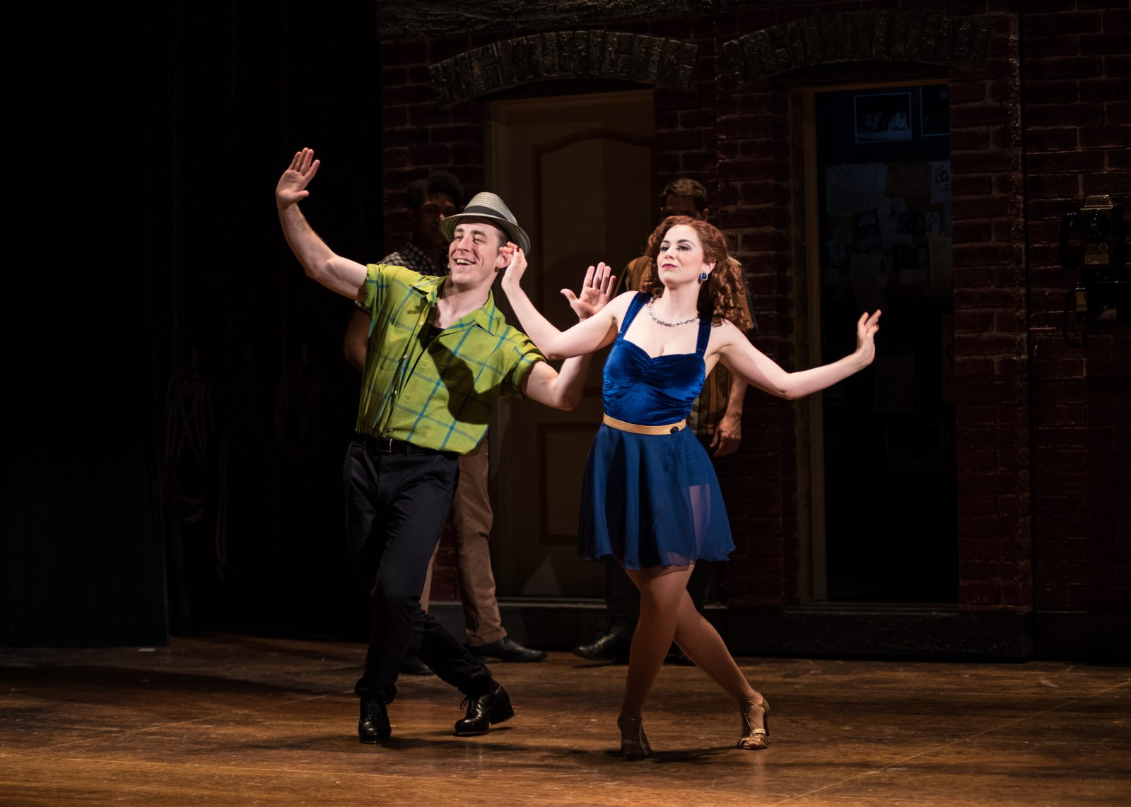 (l. to r.) Joe Capstick (Bill Calhoun/Lucentio) and Kaylee Annable (Lois Lane/Bianca) in rehearsal for Skylight Music Theatre's production of Kiss Me, Kate May 17 – June 16.
