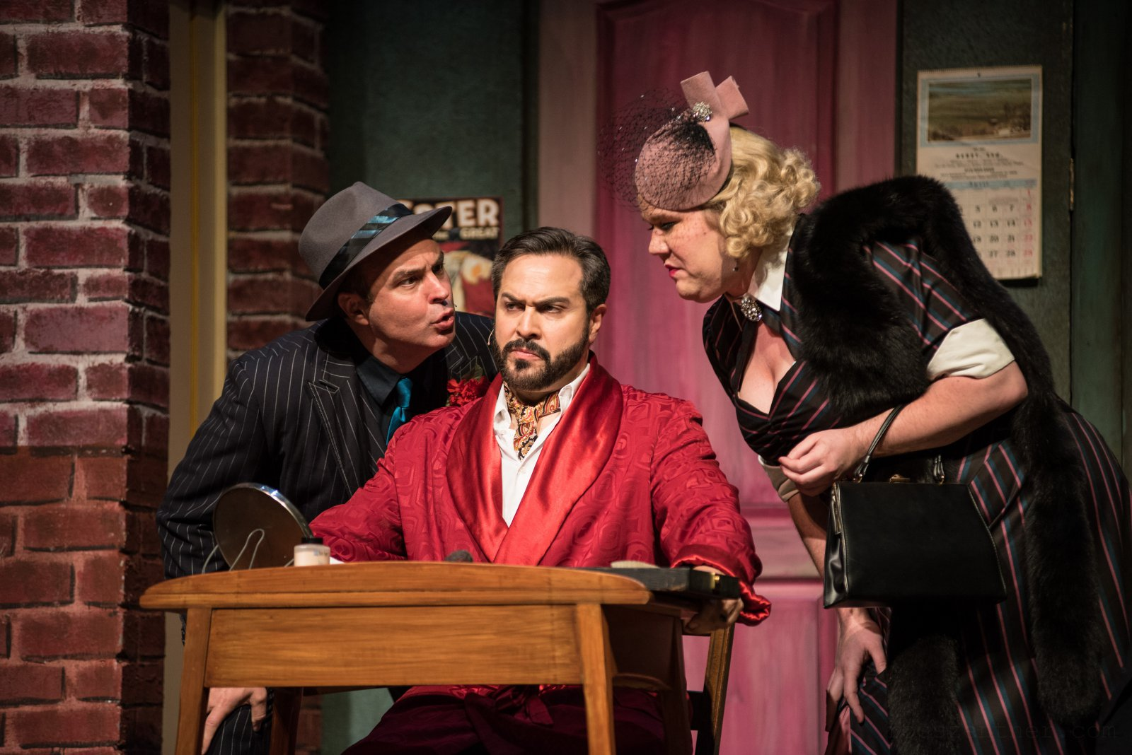 (l. to r.) Doug Jarecki (Gangster 1) Andrew Varela (Fred Graham/Petruchio) and Kelly Doherty (Gangster 2) in rehearsal for Skylight Music Theatre's production of Kiss Me, Kate May 17 – June 16.
