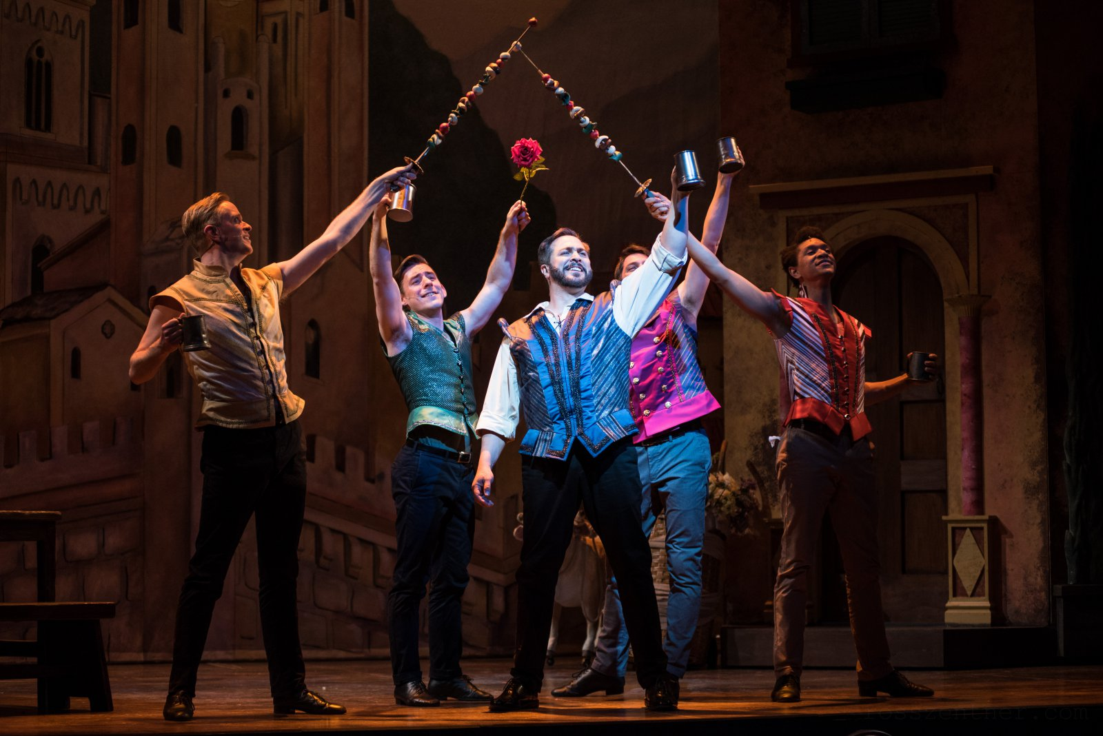 (l. to r.) Ryan Cappleman (Dance Captain/Ensemble), Joe Capstick (Bill Calhoun/Lucentio), Andrew Varela (Fred Graham/Petruchio) Tim Rebers (Gremio/Flynt) and Sean Anthony Jackson (Paul/Hortensio) in rehearsal for Skylight Music Theatre's production of Kiss Me, Kate May 17 – June 16.