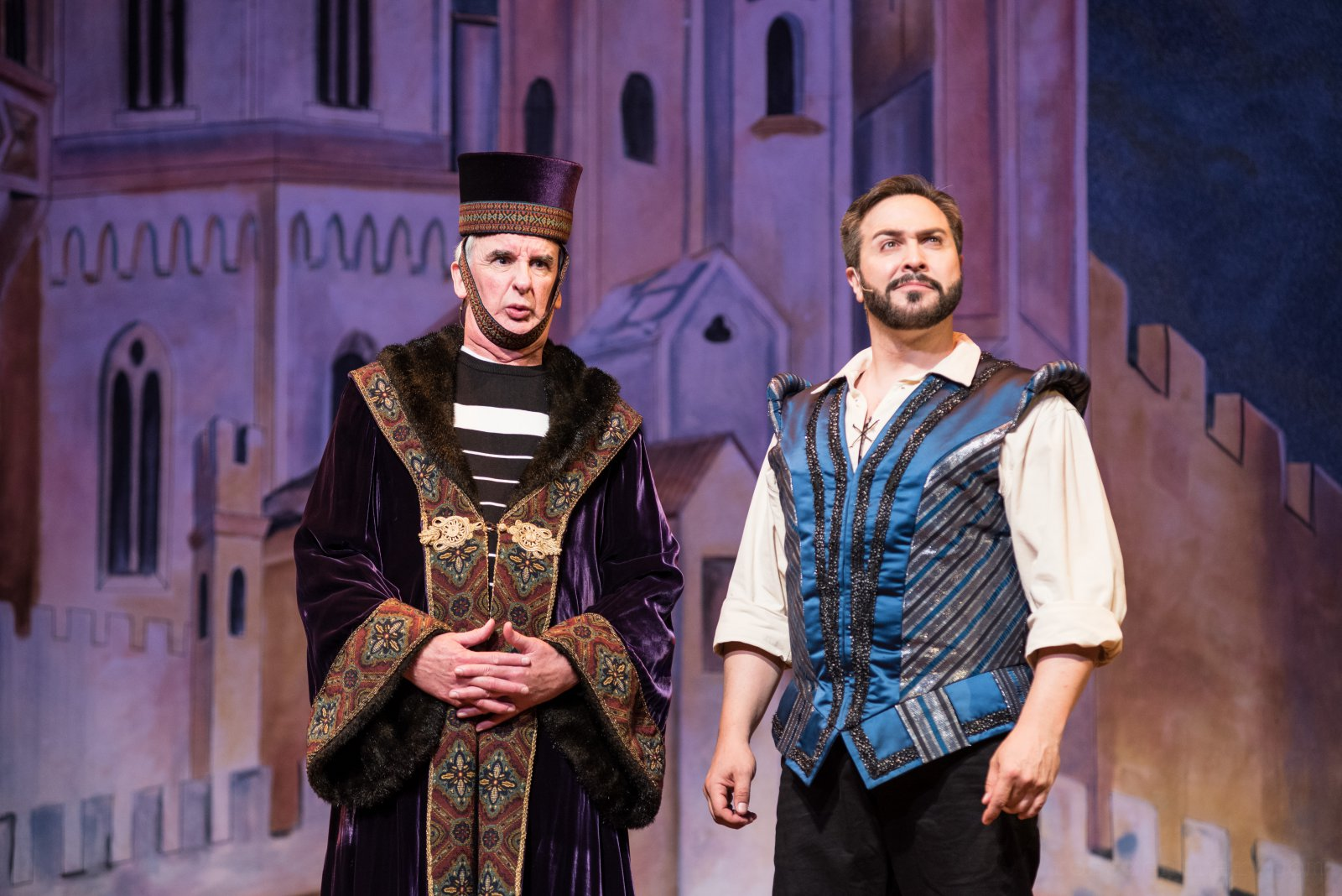 (l. to r.) Jonathan Gillard Daly (Harry Trevor/Baptista/Howell) and Andrew Varela (Fred Graham/Petruchio) in rehearsal for Skylight Music Theatre's production of Kiss Me, Kate May 17 – June 16.