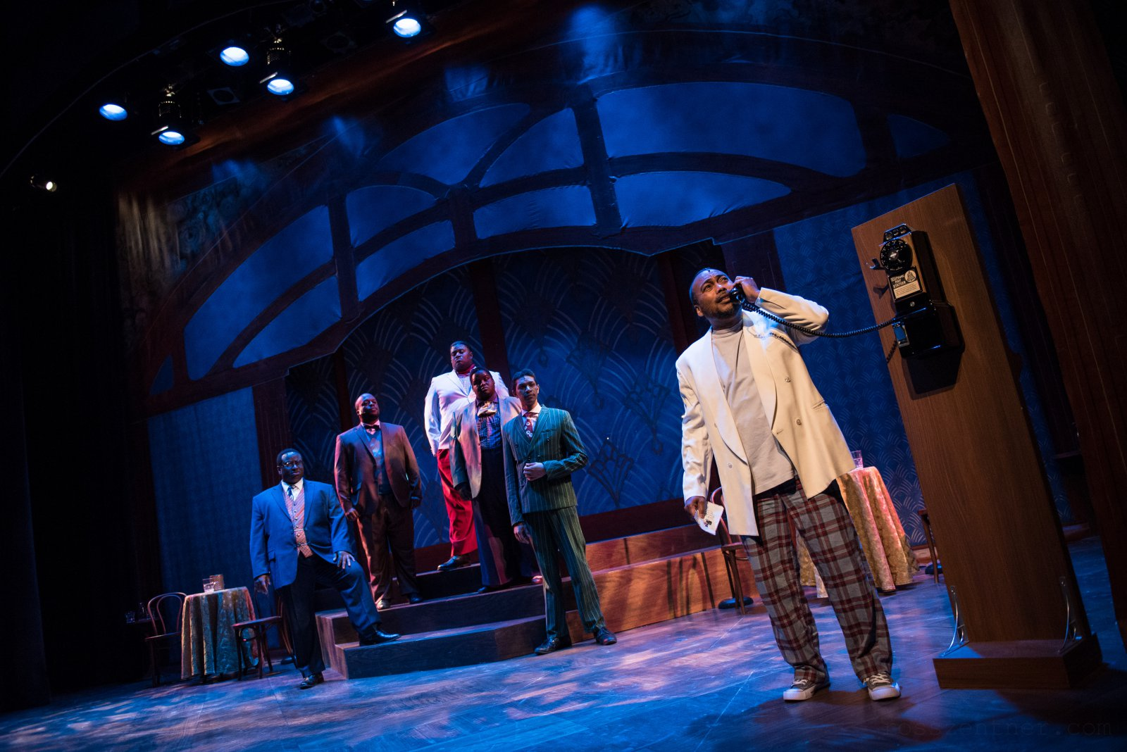 (l. to r.) James Carrington (Four-Eyed Moe), Shawn Holmes (No Moe), Lorenzo Rush Jr. (Big Moe), Kevin James Sievert (Little Moe), Sean Anthony Jackson (Eat Moe) and Gavin Lawrence (Nomax) in rehearsal for Skylight Music Theatre's production of Five Guys Named Moe January 25 – February 10.