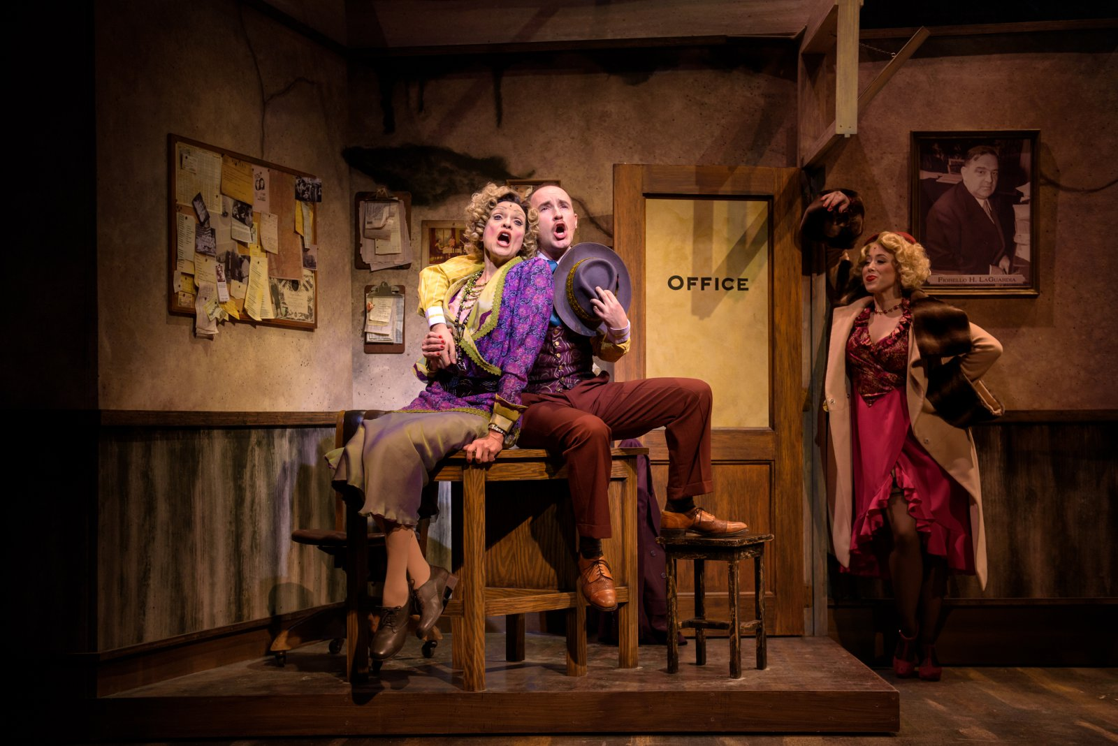 Carrie Hitchcock (Miss Hannigan), Matt Crowle (Rooster) and Samantha Sostarich (Lily St. Regis) in rehearsal for Skylight Music Theatre's production of Annie running November 17 through December 27.