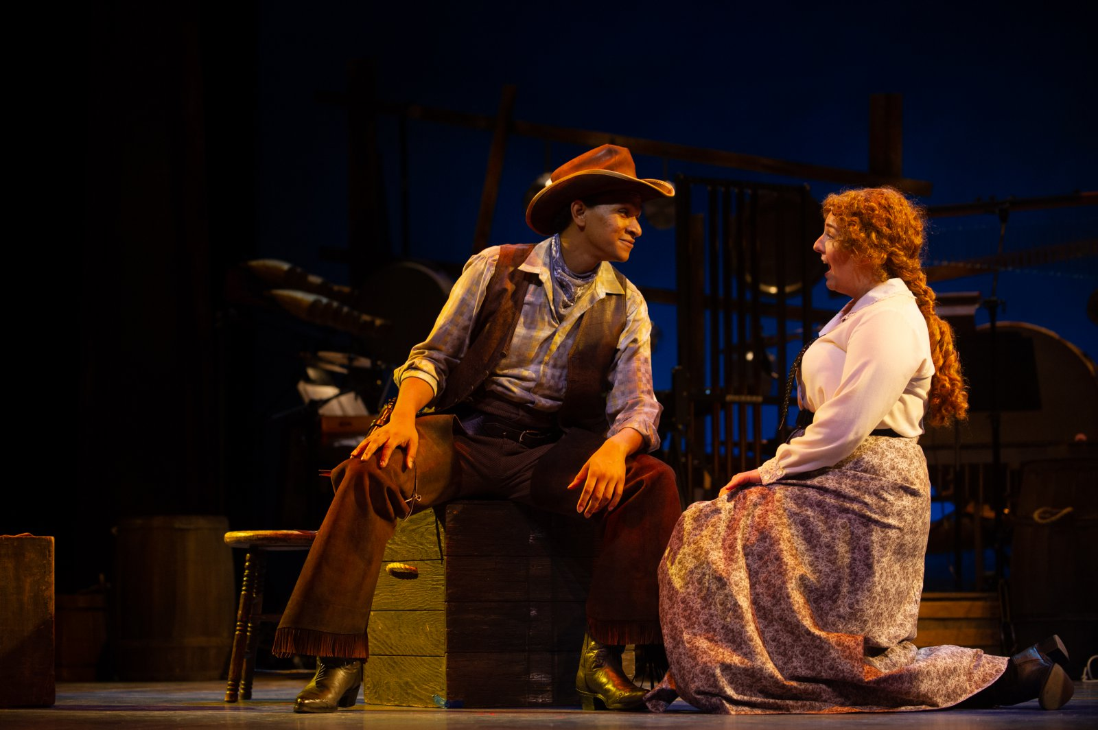 (l. to r.) Sean Anthony Jackson (Will Parker) and Hannah Esch (Ado Annie) in Skylight Music Theatre's production of Oklahoma! September 27 – October 13.