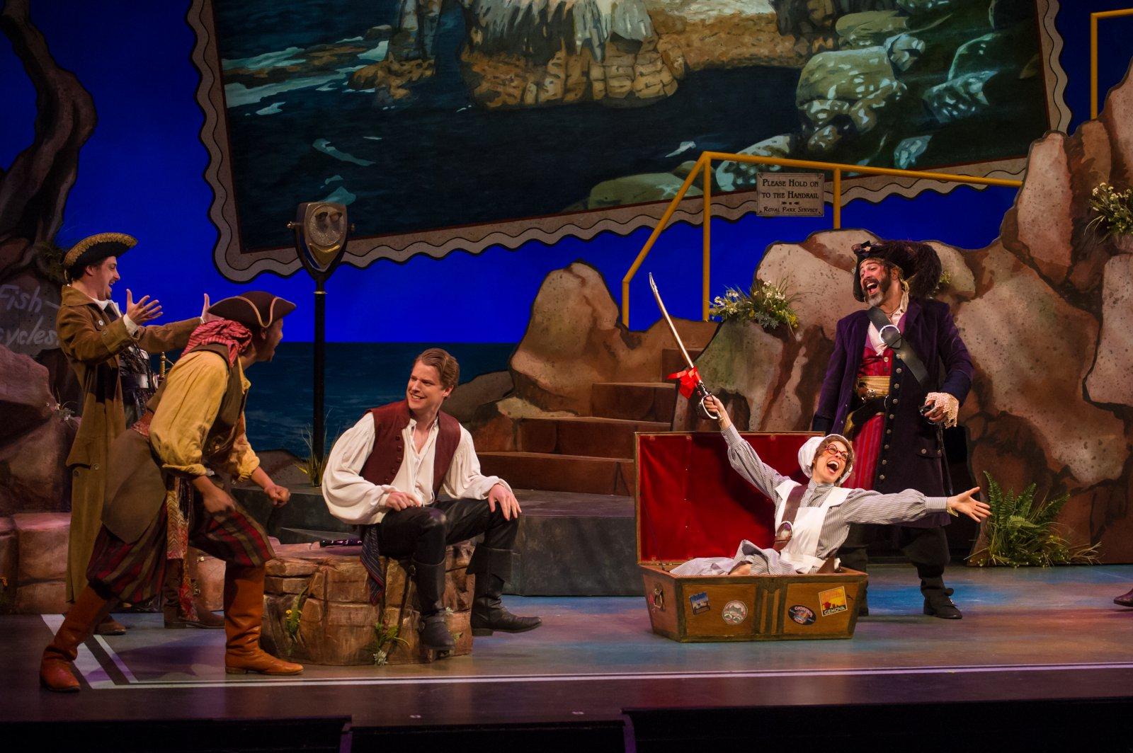 Tim Rebers (Ensemble), Sean Jackson (Ensemble), Benjamin Robinson (Frederick), Diane Lane (Ruth), and Andrew Varela (Pirate King) of Pirates of Penzance