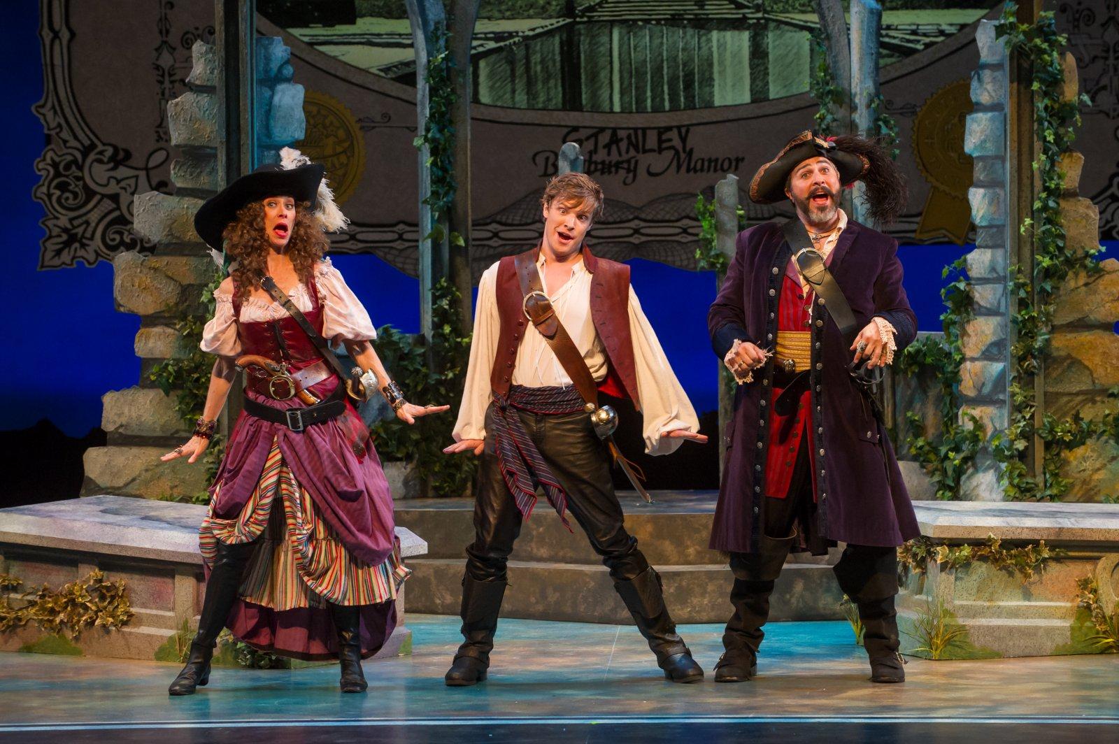 Diane Lane (Ruth), Benjamin Robinson (Frederic), and Andrew Varela (Pirate King) of Pirates of Penzance