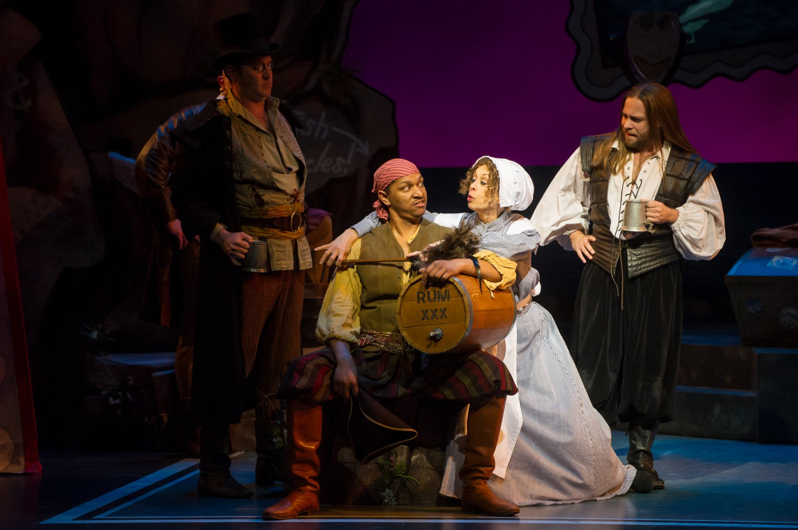 Nathan Wesselowski (Samuel), Sean Jackson (Ensemble), Diane Lane (Ruth), and Ryan Charles (Ensemble) of Pirates of Penzance