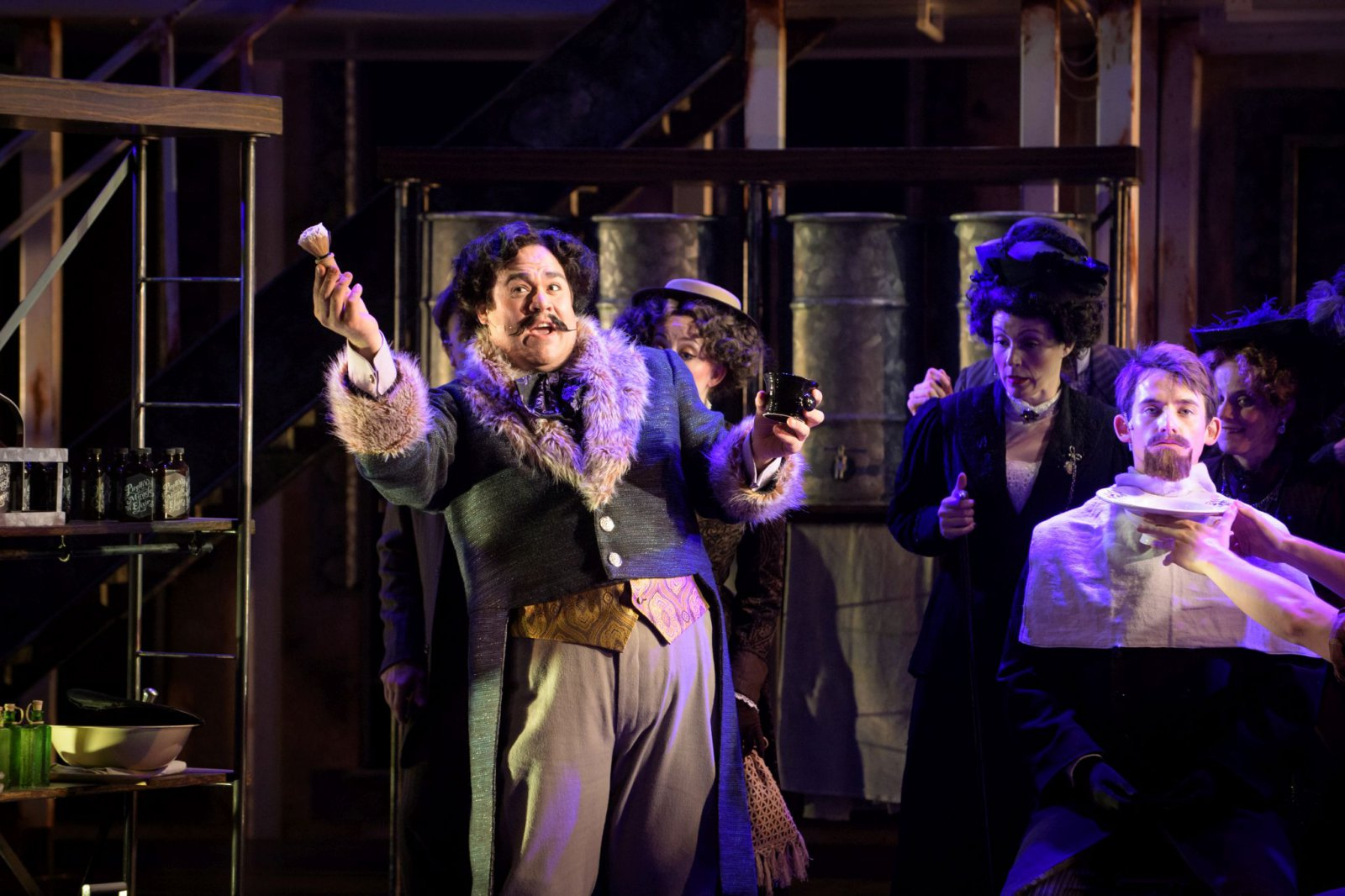 Robert A. Goderich (Adolfo Pirelli) and cast in Skylight Music Theatre's Sweeney Todd running May 19 – June 11.