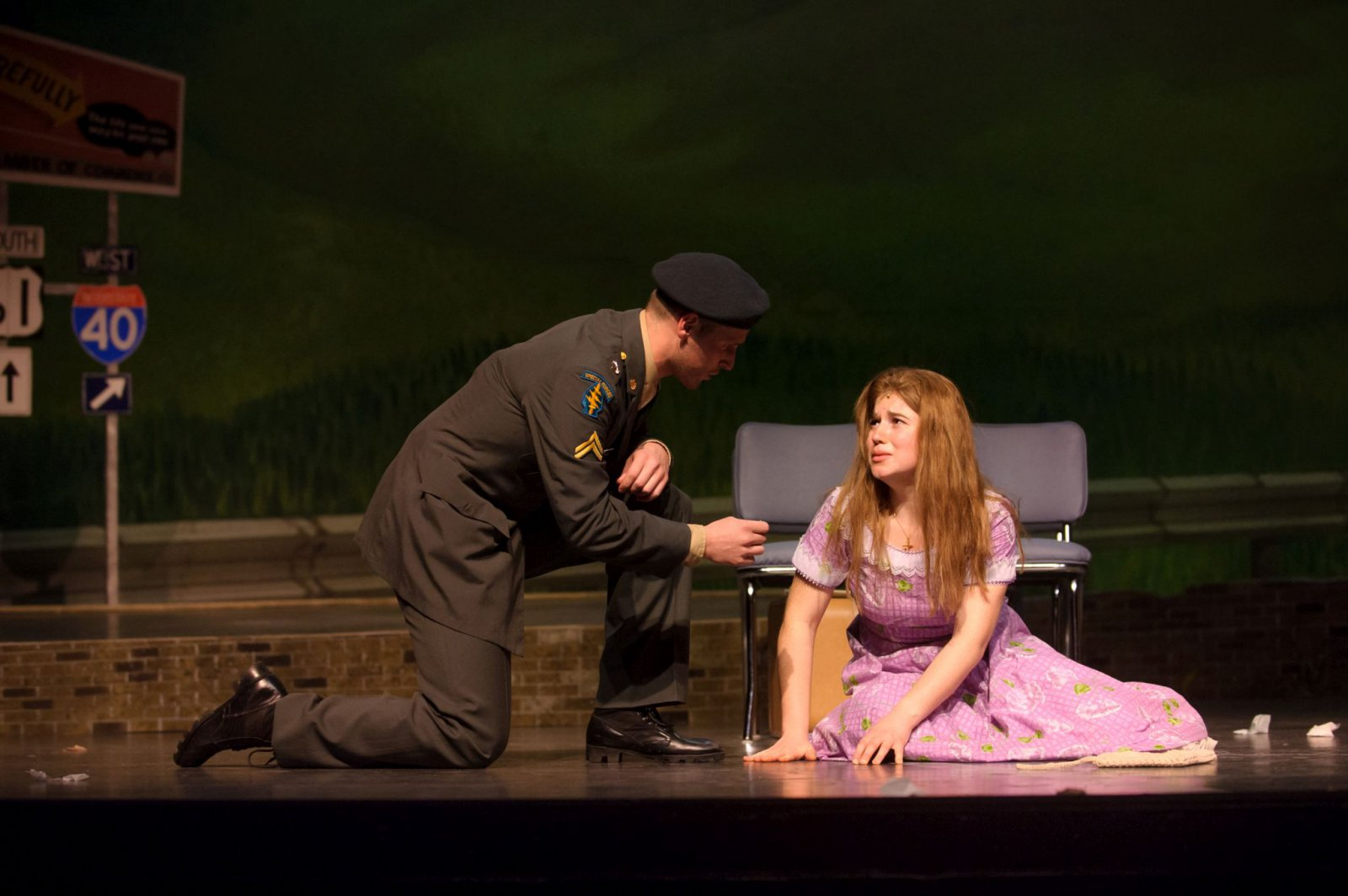Alex Mace (Monty) and Allie Babich (Violet) in Skylight Music Theatre's Violet