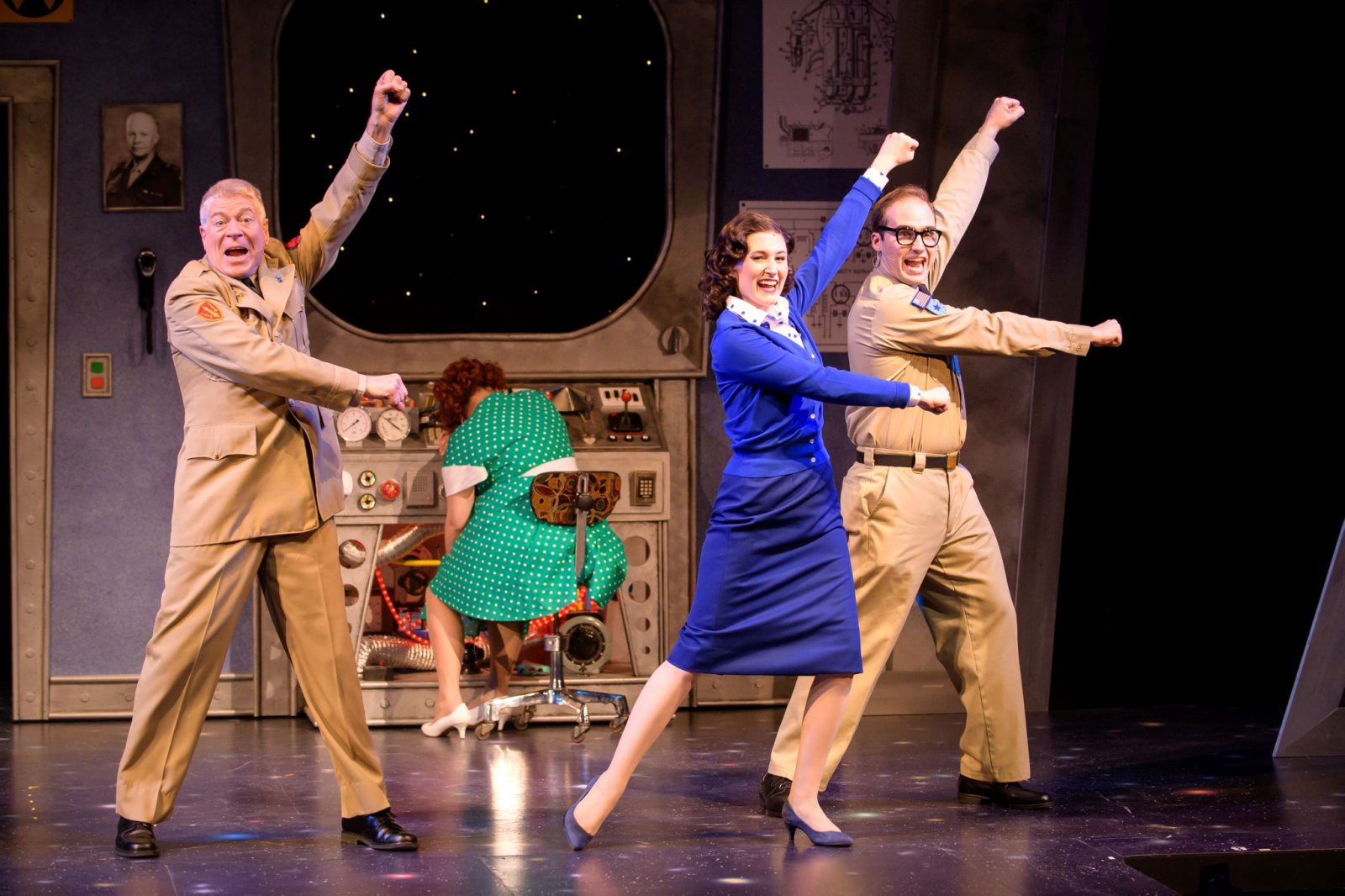 Norman Moses (Major Malone), Meghan Randolph (Charlene), Kathryn Hausman (Mary Malone) and Matt Frye (Trenton Corbett) in rehearsal for Skylight Music Theatre's Zombies from The Beyondrunning Feb. 2-18.
