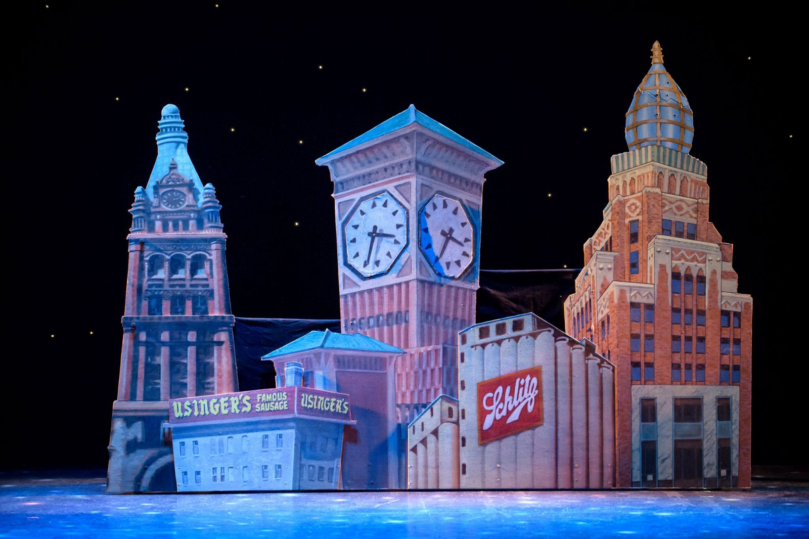 The Skyline of Milwaukee (designed by Aaron Dyszelski) before aliens land in Skylight Music Theatre's Zombies from The Beyondrunning Feb. 2-18.