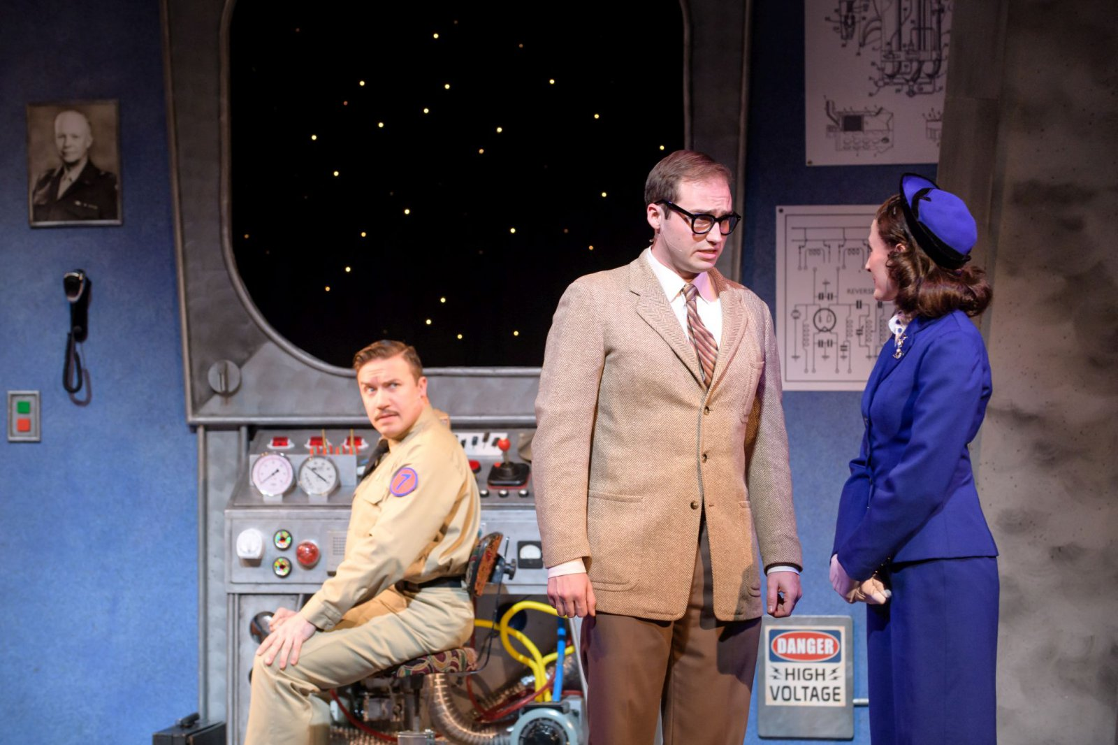 Rick Pendzich (Rick Jones), Matt Frye (Trenton Corbett) and Kathryn Hausman (Mary Malone) in rehearsal for Skylight Music Theatre's Zombies from The Beyond running Feb. 2-18.