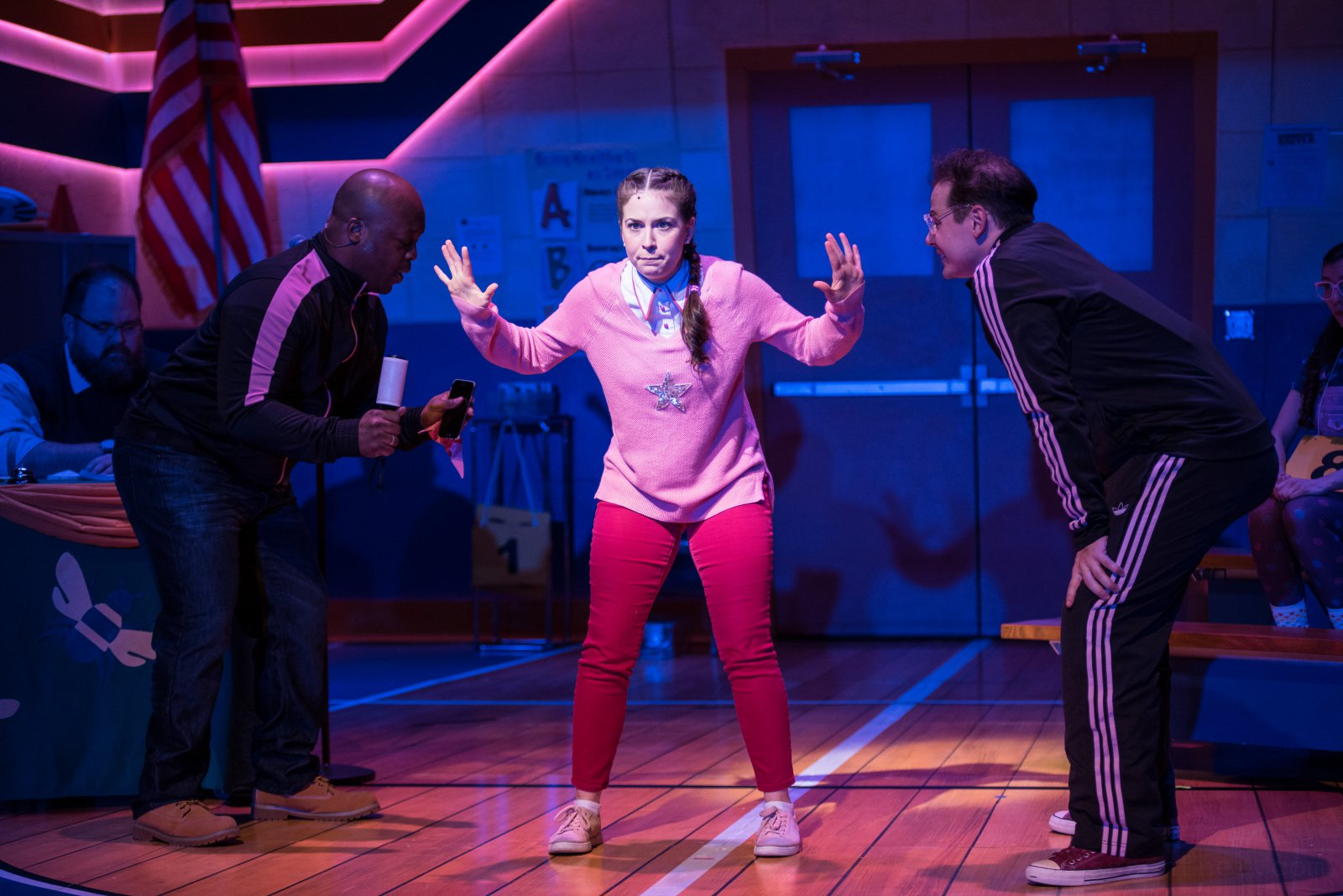 Kaylee Annable (Logainne SchwartzandGrubenierre, center) and cast members of Skylight Music Theatre's production of The 25th Annual Putnam County Spelling Bee running February 7 – February 23, 2020.