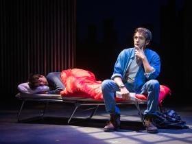 Abram Nelson (Nathan Lukowski) and Dan DeLuca (Jerry Lukowski) in Skylight Music Theatre's production of The Full Monty running September 24 – October 17, 2021.