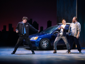 (l. to r.) Joey Chelius (Malcolm MacGregor), Dan DeLuca (Jerry Lukowski) and Nathan Marinan (Dave Bukatinsky) in Skylight Music Theatre's production of The Full Monty running September 24 – October 17, 202