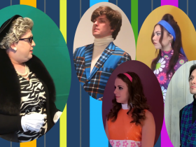 Nathan Marinan (Lady Bracknell, far left), Joey Chelius (Jack, top center), StephanieStaszak (Gwendolyn, lower center), Ashley Oviedo (Cecily, top right) and Max Pink (Algernon, lower right) in the full-length virtual musical Being Earnest based on The Importance of Being Earnest.