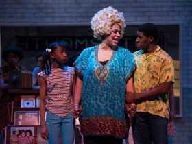 (l. to r.) Terynn Erby-Walker (Little Inez), Bethany Thomas (Motormouth Maybelle) and Gilbert Domally (Seaweed J. Stubbs) in rehearsal for Skylight Music Theatre's production of Hairspray November 16 – December 30.