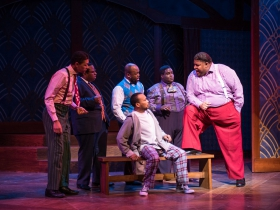 (l. to r.) Sean Anthony Jackson (Eat Moe), James Carrington (Four-Eyed Moe), Gavin Lawrence (Nomax), Shawn Holmes (No Moe), Kevin James Sievert (Little Moe), and Lorenzo Rush Jr. (Big Moe) in rehearsal for Skylight Music Theatre's production of Five Guys Named Moe January 25 – February 10.
