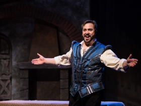 Andrew Varela (Fred Graham/Petruchio) in rehearsal for Skylight Music Theatre's production of Kiss Me, Kate May 17 – June 16.