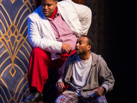 (l. to r.) Lorenzo Rush Jr. (Big Moe) and Gavin Lawrence (Nomax) in rehearsal for Skylight Music Theatre's production of Five Guys Named Moe January 25 – February 10.