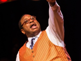 James Carrington (Four-Eyed Moe) in rehearsal for Skylight Music Theatre's production of Five Guys Named Moe January 25 – February 10.
