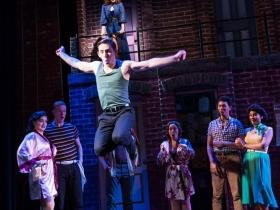Joe Capstick (Bill Calhoun/Lucentio), center, dances as cast rehearses Skylight Music Theatre's production of Kiss Me, Kate May 17 – June 16.