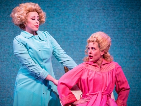 (l. to r.) Samantha Sostarich (Velma Von Tussle) and Amber Smith (Amber Von Tussle) in rehearsal for Skylight Music Theatre's production of Hairspray November 16 – December 30.