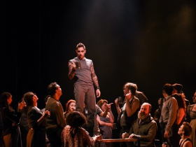 Tim Rebers (center) with cast in Skylight Music Theatre's production of Carmina Burana in collaboration with Milwaukee Opera Theatre, Danceworks and Chant Claire Chamber Choir. Carmina Burana runs March 15-31, at Skylight Music Theatre's Cabot Theatre.