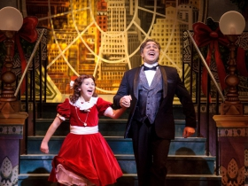Eloise Field (Annie in LIGHT cast) and Andrew Varela (Oliver Warbucks) in rehearsal for Skylight Music Theatre's production of Annie running November 17 through December 27.