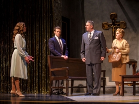 Stephanie Staszak (Anne), Colte Julian (Jean-Michel), Dylan Bolin (Edouard) and Carol Greif (Marie) in Skylight Music Theatre's La Cage Aux Folles.