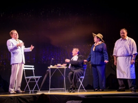 Norman Moses (Georges), Ray Jivoff (Albin), Rhonda Rae Busch (Jacqueline) and Jonathan Stewart (Renaud) in Skylight Music Theatre's La Cage Aux Folles.