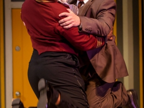 Shawn Holmes (Jacob) and Ray Jivoff (Albin) in Skylight Music Theatre's La Cage Aux Folles.
