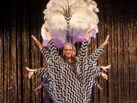 Ryan Cappleman (Cagelle) and The Cagelles in Skylight Music Theatre's La Cage Aux Folles.