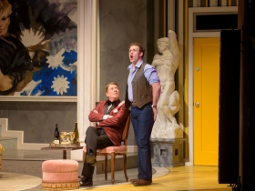 Norman Moses (Georges) and Colte Julian (Jean-Michel) in Skylight Music Theatre's La Cage Aux Folles.