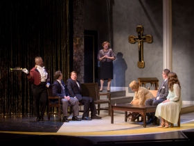 Shawn Holmes (Jacob), Colte Julian (Jean-Michel), Norman Moses (Georges), Ray Jivoff (Albin), Carol Greif (Marie), Dylan Bolin (Edouard) and Stephanie Staszak (Anne) in Skylight Music Theatre's La Cage Aux Folles.