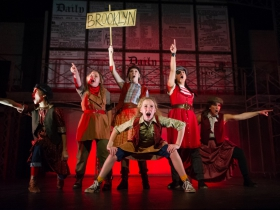 Newsies from Brooklyn (left to right: Alice Rivera, Eloise Field, Lily Miller, Jamie Mercado, Stephanie Staszak, front: Paisley Schroeder) in Skylight Music Theatre's production of Disney's Newsies running November 15 – December 29, 2019.