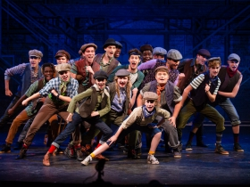 The cast of Skylight Music Theatre's production of Disney's Newsies running November 15 – December 29, 2019.