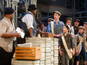 (l. to r.) Shawn Holmes (Oscar Delancey), Kevin James Sievert (Wiesel), Nicholas Parrott (Davey) and Abram Nelson (Les) with the cast of Skylight Music Theatre's production of Disney's Newsies running November 15 – December 29, 2019. (Note: the role of Les is double cast.)