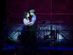 (l. to r.) Rachael Zientek (Katherine Plumber) and Marco Tzunux (Jack Kelly) in Skylight Music Theatre's production of Disney's Newsies running November 15 – December 29, 2019.