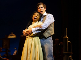(l. to r.) Brittani Moore (Laurey Williams) and Lucas Pastrana (Curly McLain) in Skylight Music Theatre's production of Oklahoma! September 27 – October 13.