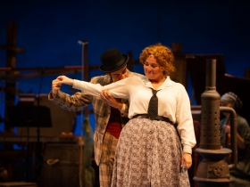 (l. to r.) Ethan Brittingham (Ali Hakim) and Hannah Esch (Ado Annie) in Skylight Music Theatre's production of Oklahoma! September 27 – October 13.