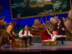 Tim Rebers (Ensemble), Sean Jackson (Ensemble), Benjamin Robinson (Frederick), Diane Lane (Ruth), and Andrew Varela (Pirate King) of Pirates of Penzance